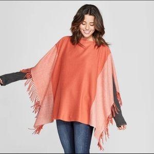 Universal Threads poncho orange rust color